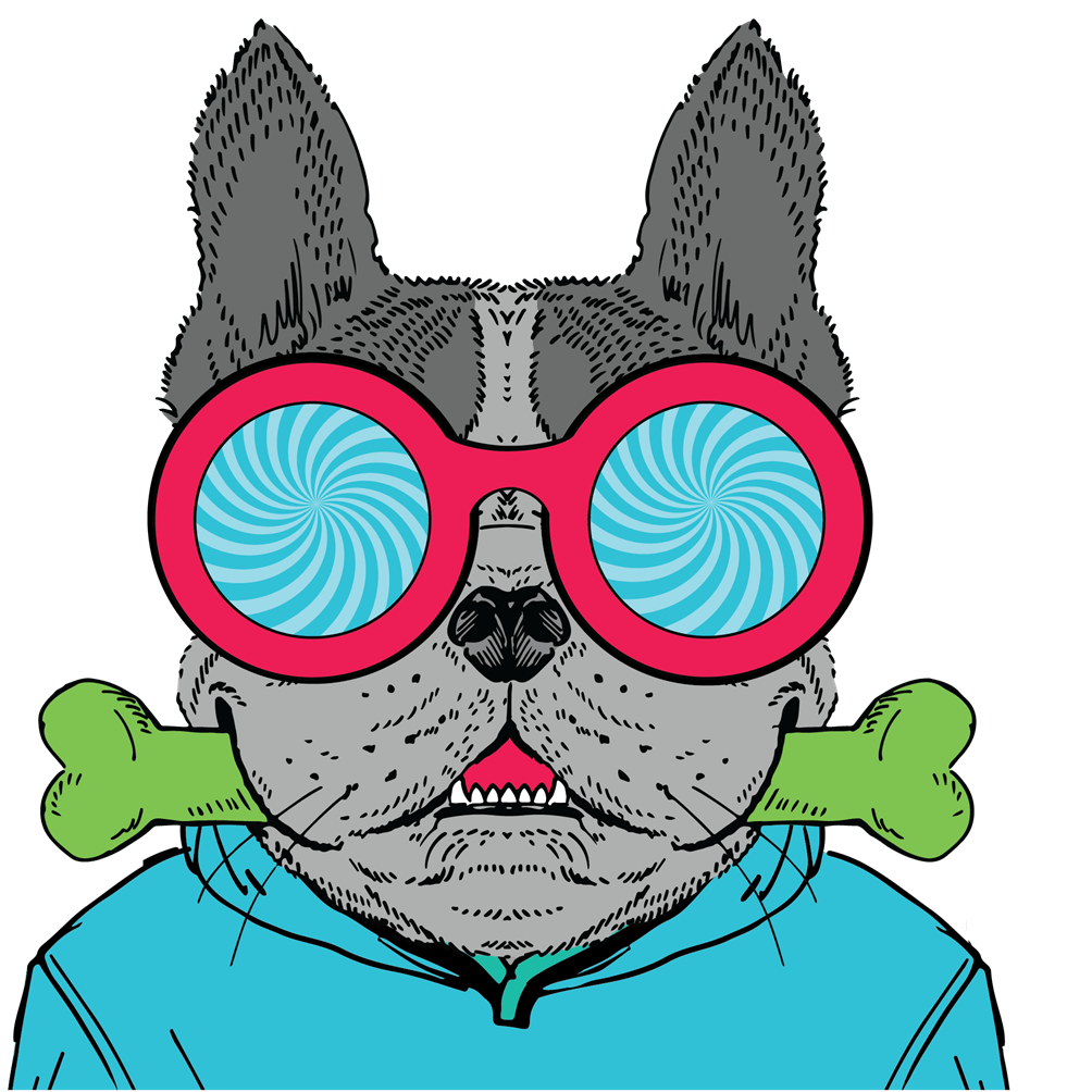 Route 32 Dental animated character dog with a green color bone in the mouth and pink frames big glasses with spiraling blue motif lenses, wearing a blue sweatshirt