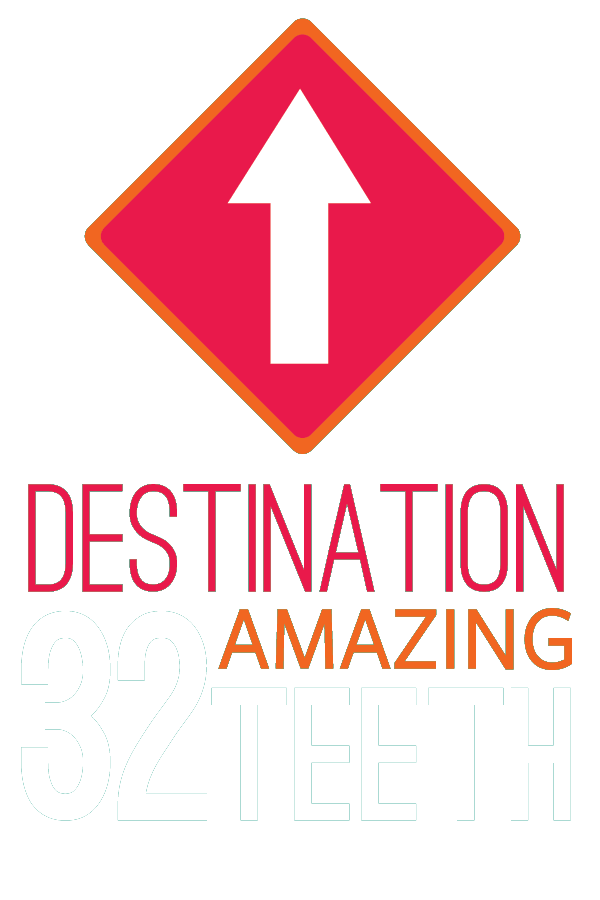 Route 32 Dental office sign: Destination 32 Amazing Teeth showing white up arrow inside a hot pink colored diamond shape framed in orange color and the words in hot pink, white and orange