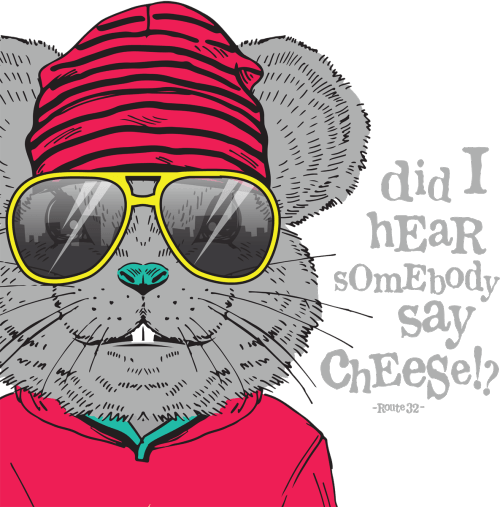 Route 32 Dental animated character mouse wearing hot pink colored sweatshirt, hot pink with black stripes hat and big bright yellow sunglasses with the phrase: did I hear somebody say cheese!?
